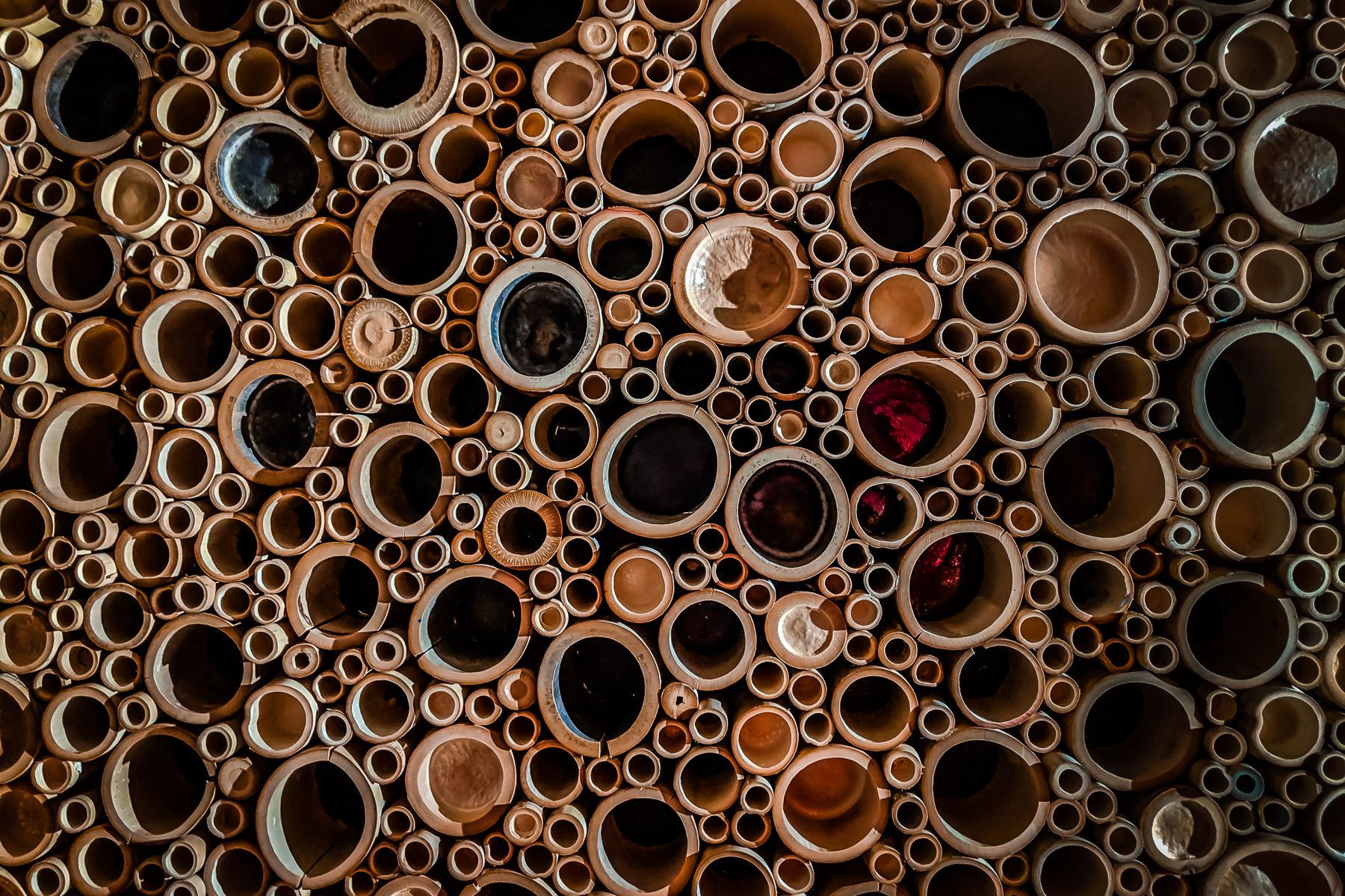 Cross sections of bamboo make up an abstract artwork at a McKinney, Texas, restaurant.