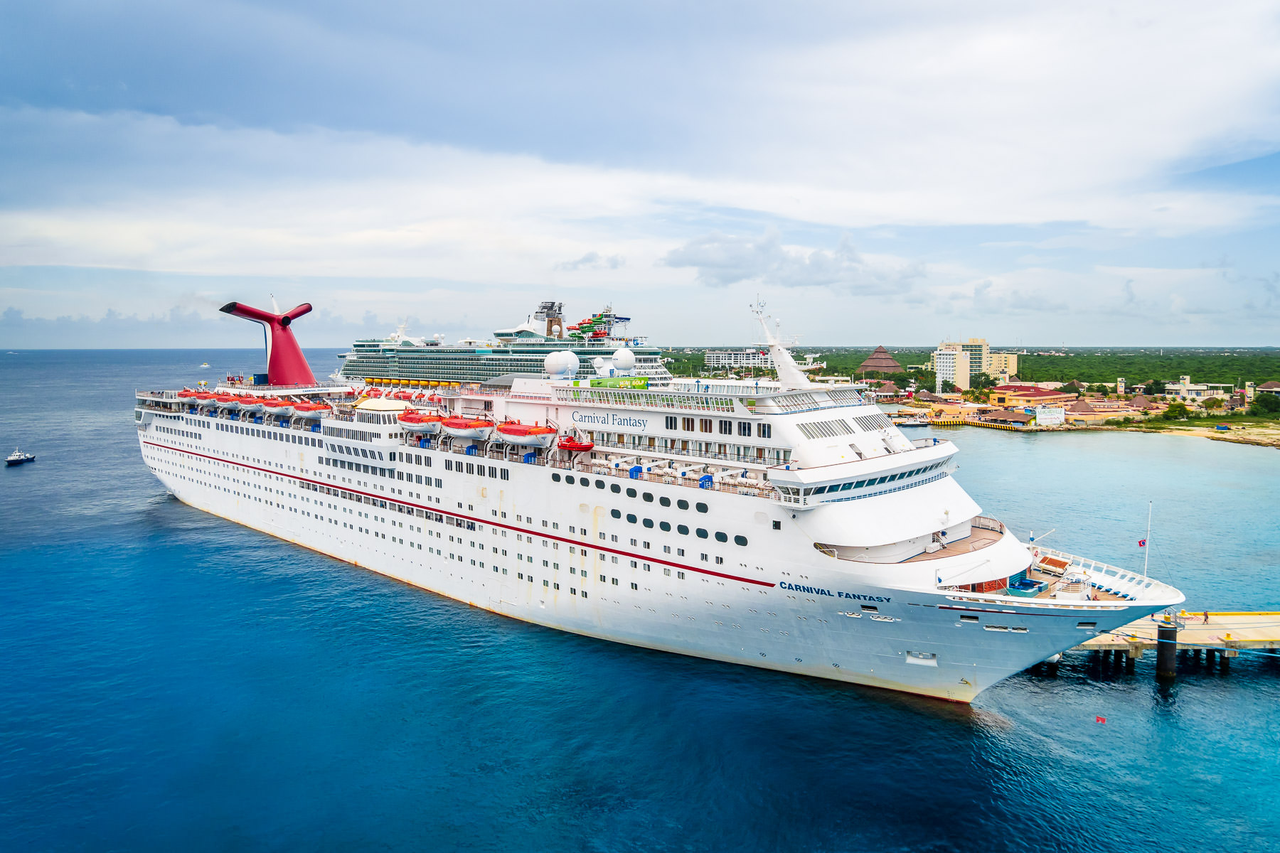 The cruise ship Carnival Fantasy, docked at Puerta Maya, Cozumel, Mexico.