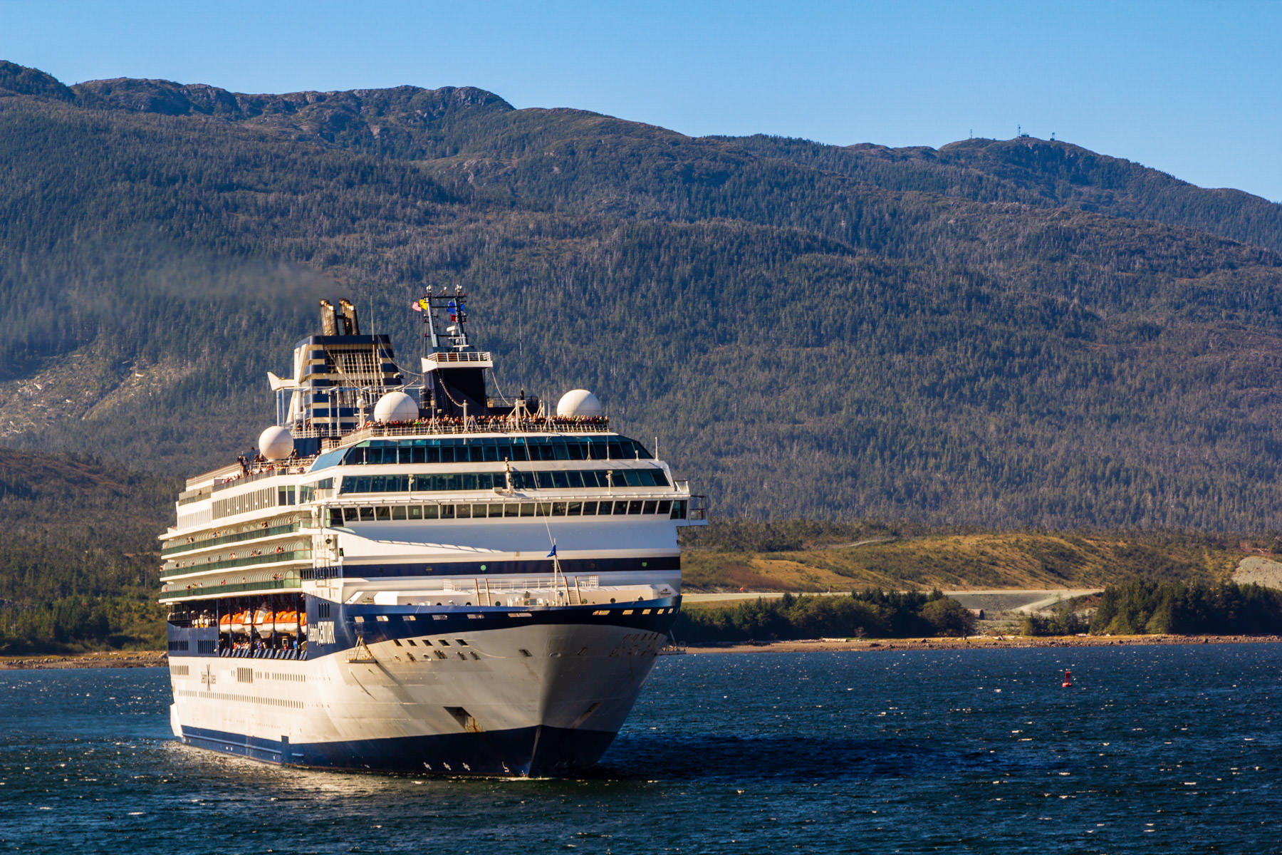 The cruise ship Celebrity Century sails into Ketchikan, Alaska.