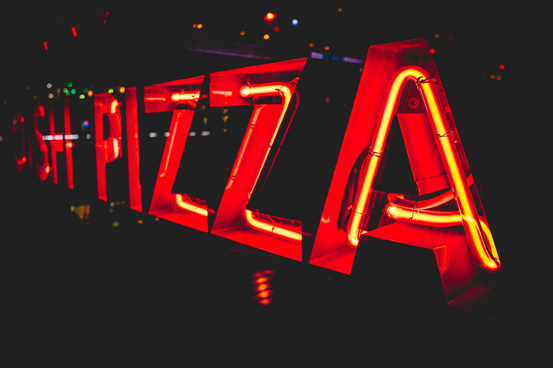 A neon sign at Giordano's Pizza at the Grand Bazaar, Ballys, Las Vegas.