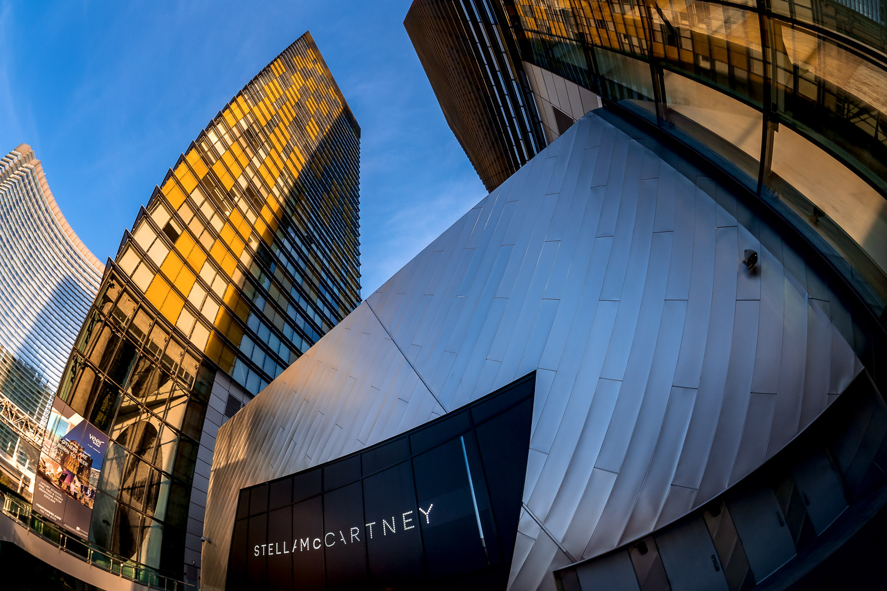 The Stella McCartney boutique at the Crystals in CityCenter Las Vegas is dwarfed by the adjacent Veer Towers.