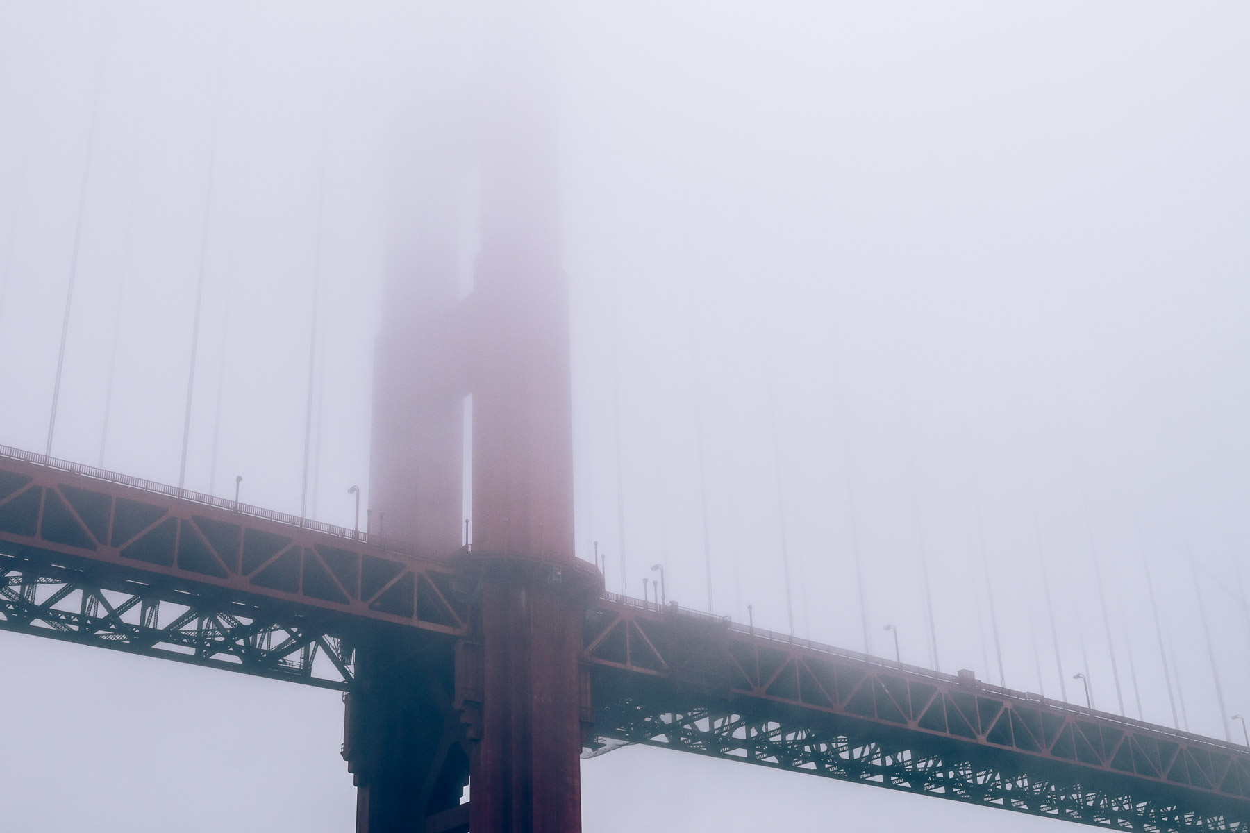 The Golden Gate Bridge rises into a fog bank that's settled into San Francisco Bay.