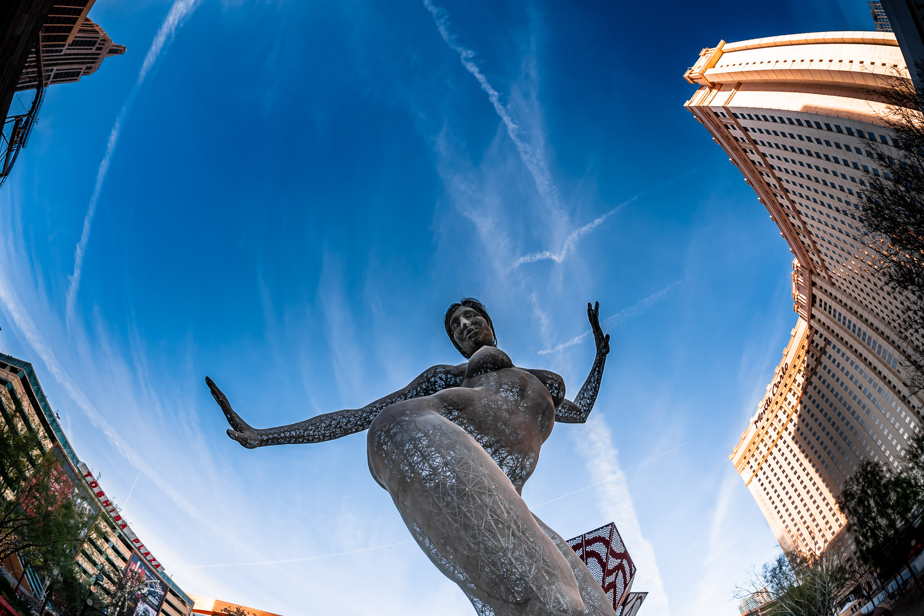 "Marco Cochrane's ""Bliss Dance"", a 40-foot-tall sculpture on display at Las Vegas' Park MGM, formerly the Monte Carlo Resort and Casino."