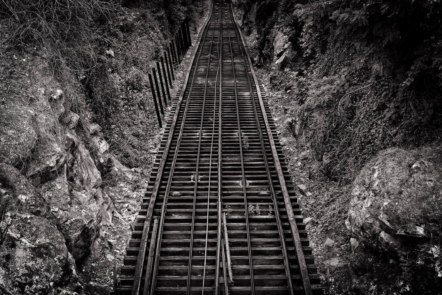 A section of track on the Lookout Mountain Incline Railway, Chattanooga, Tennessee.