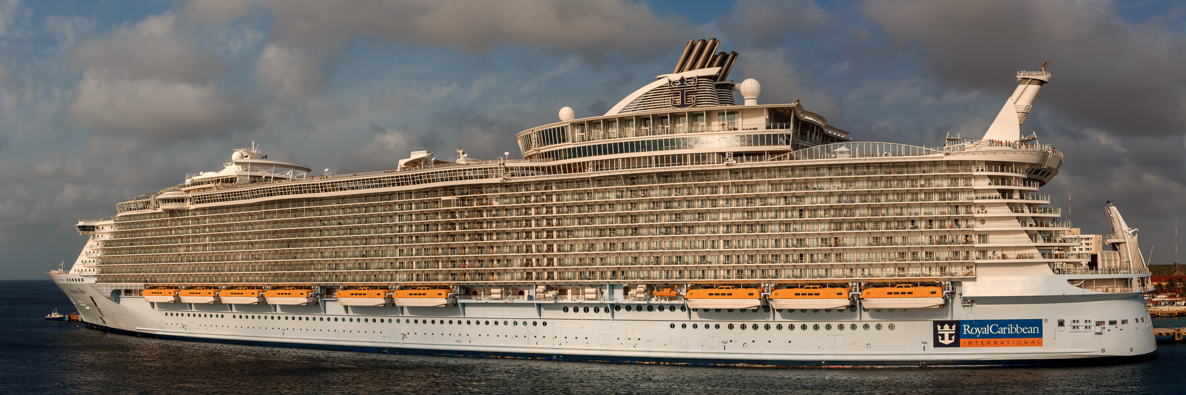 The Royal Caribbean cruise ship Allure of the Seas, docked in Cozumel, Mexico.