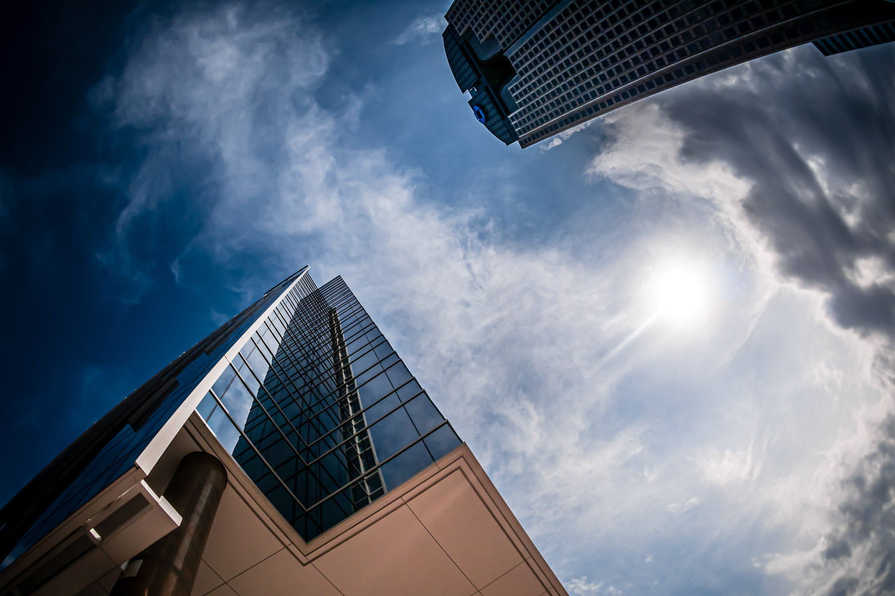 Dallas' HALL Arts tower and Chase Tower rise into the North Texas sky.