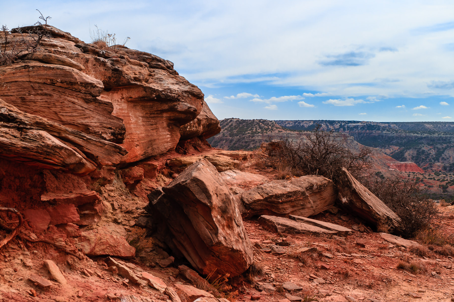 A pile of rocks on the rim of Texas' Palo Duro Canyon.