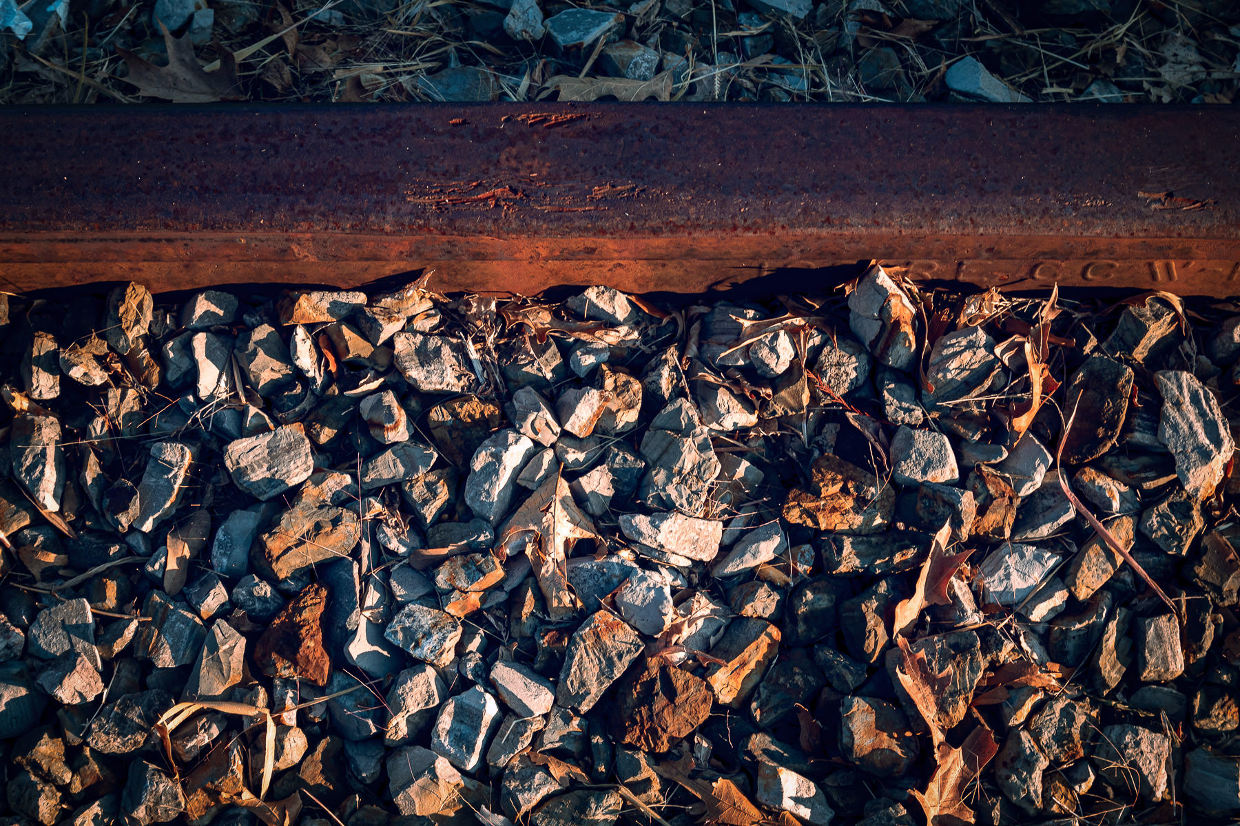 Detail of a railroad rail spotted in Addison, Texas.
