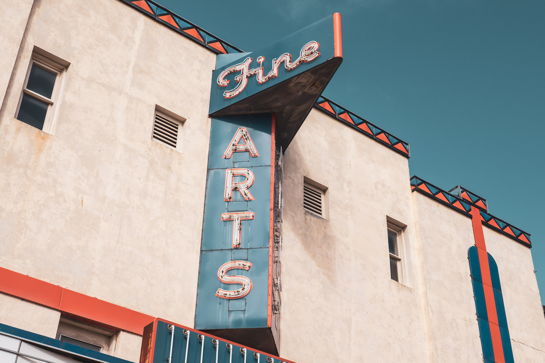 Architectural detail of the Fine Arts Theatre in Downtown Denton, Texas.