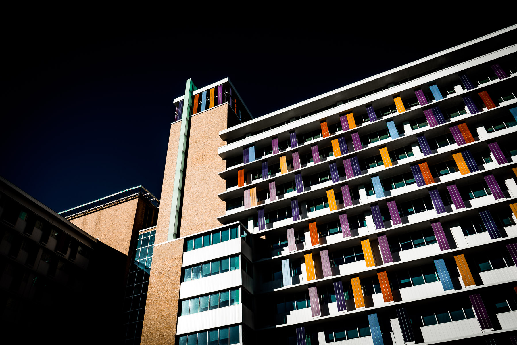 The multi-colored facade of the Children's Hospital of San Antonio, Texas.