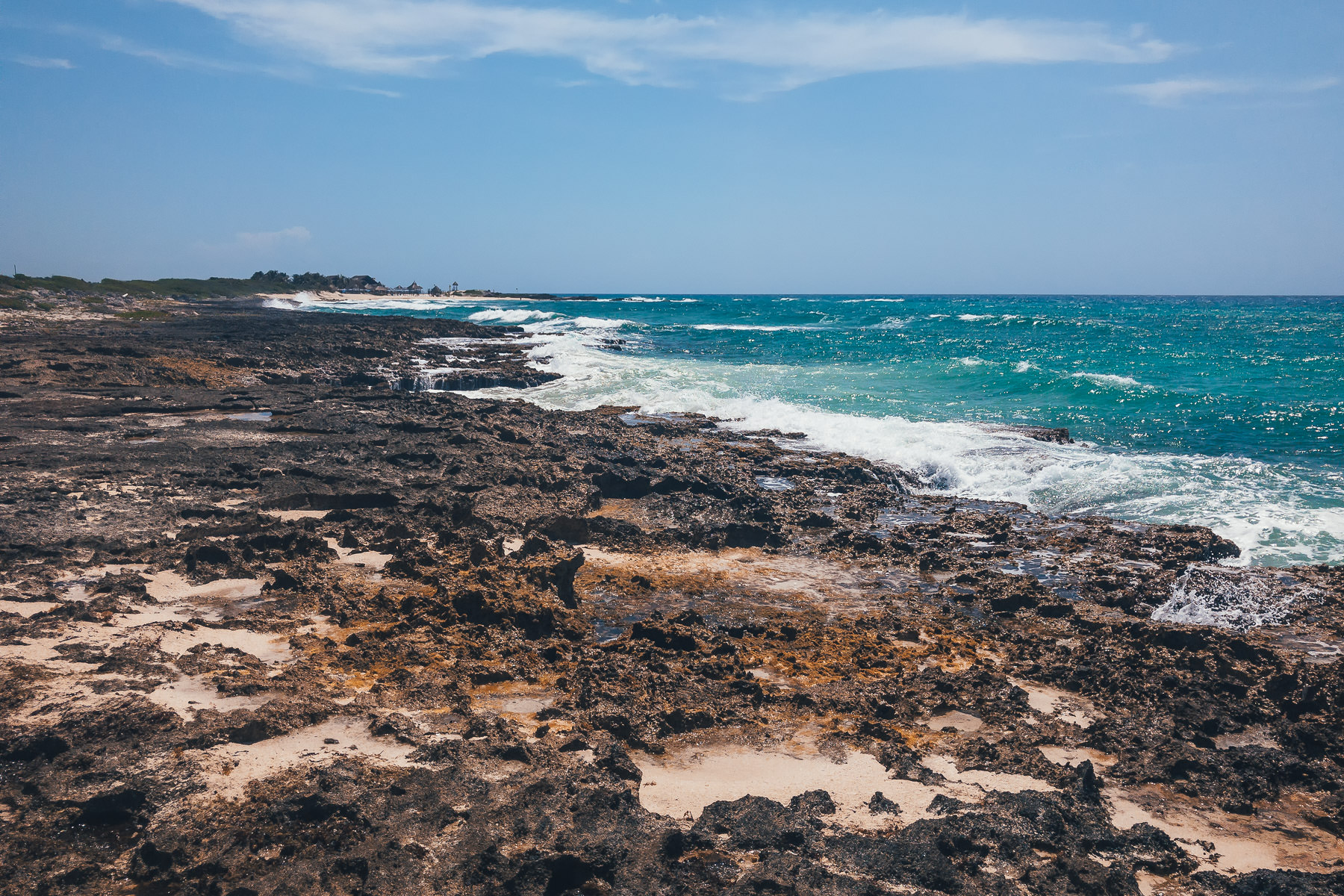 The rocky beach of Cozumel, Mexico's eastern shore.