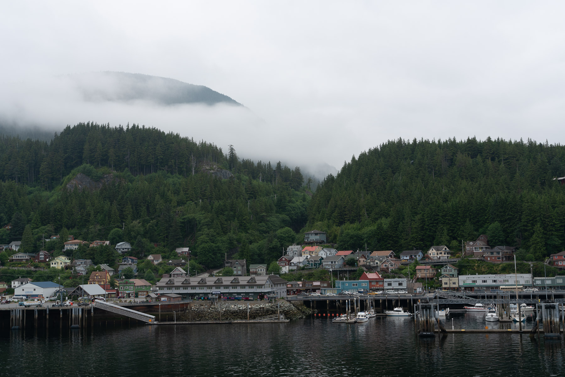 The Ketchikan, Alaska, cityscape on a dreary day.