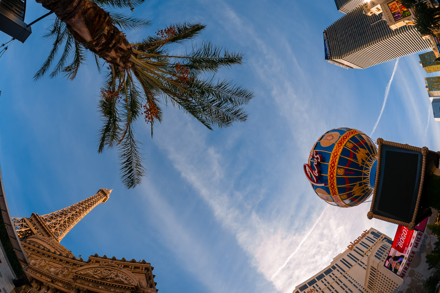 Paris Las Vegas, Planet Hollywood and the Cosmopolitan rise into the Nevada sky.