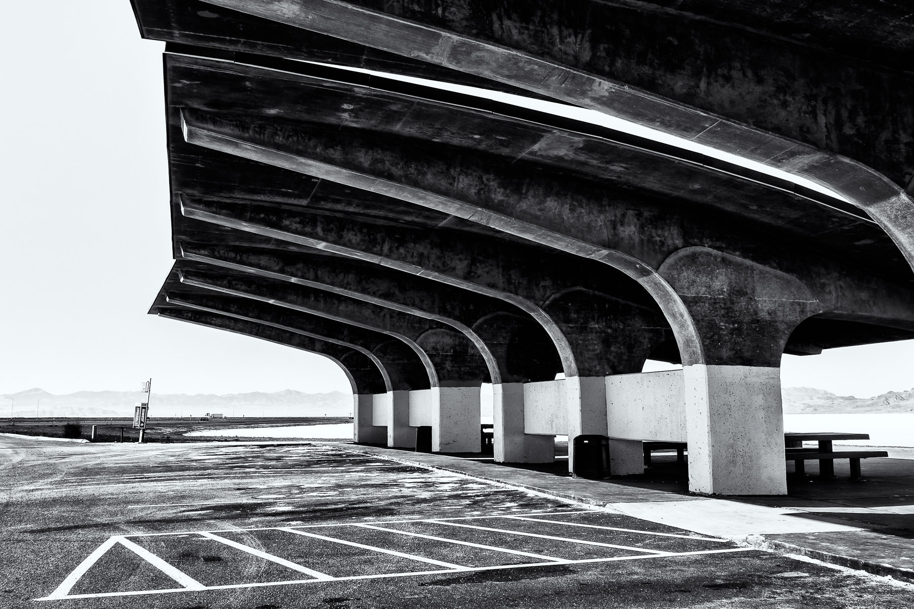 A cast concrete roof at a rest stop along Interstate 80 in the Bonneville Salt Flats, Utah.