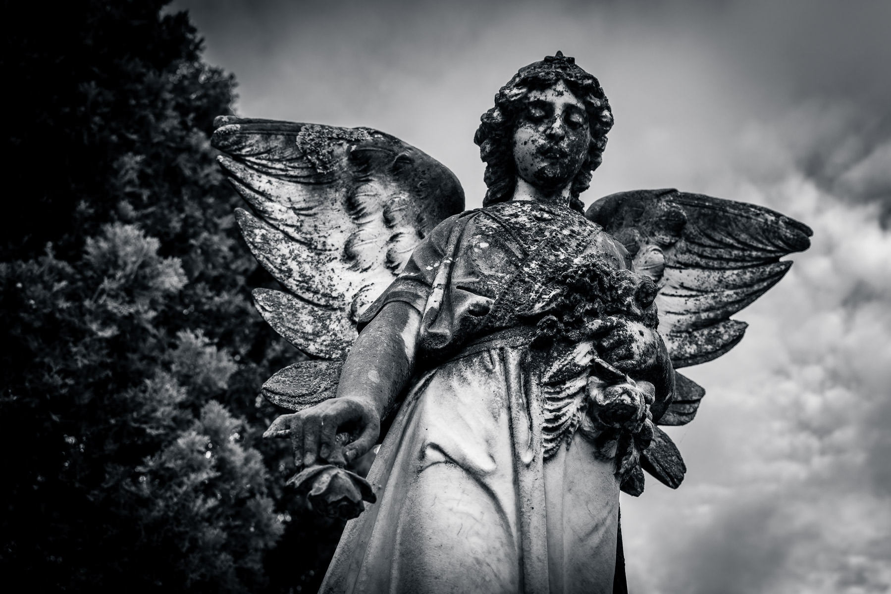 A statue of an angel atop a headstone at Pecan Grove Cemetery, McKinney, Texas.