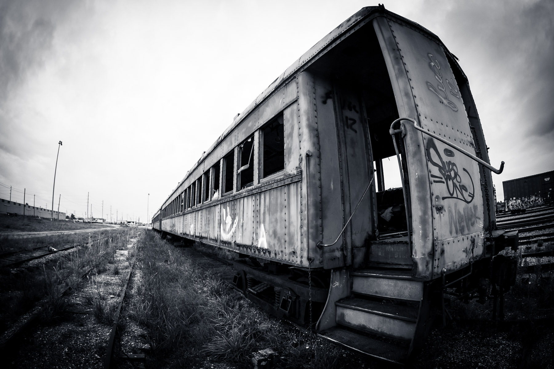 An abandoned railcar rusting in the Union Pacific rail yard at Galveston, Texas.