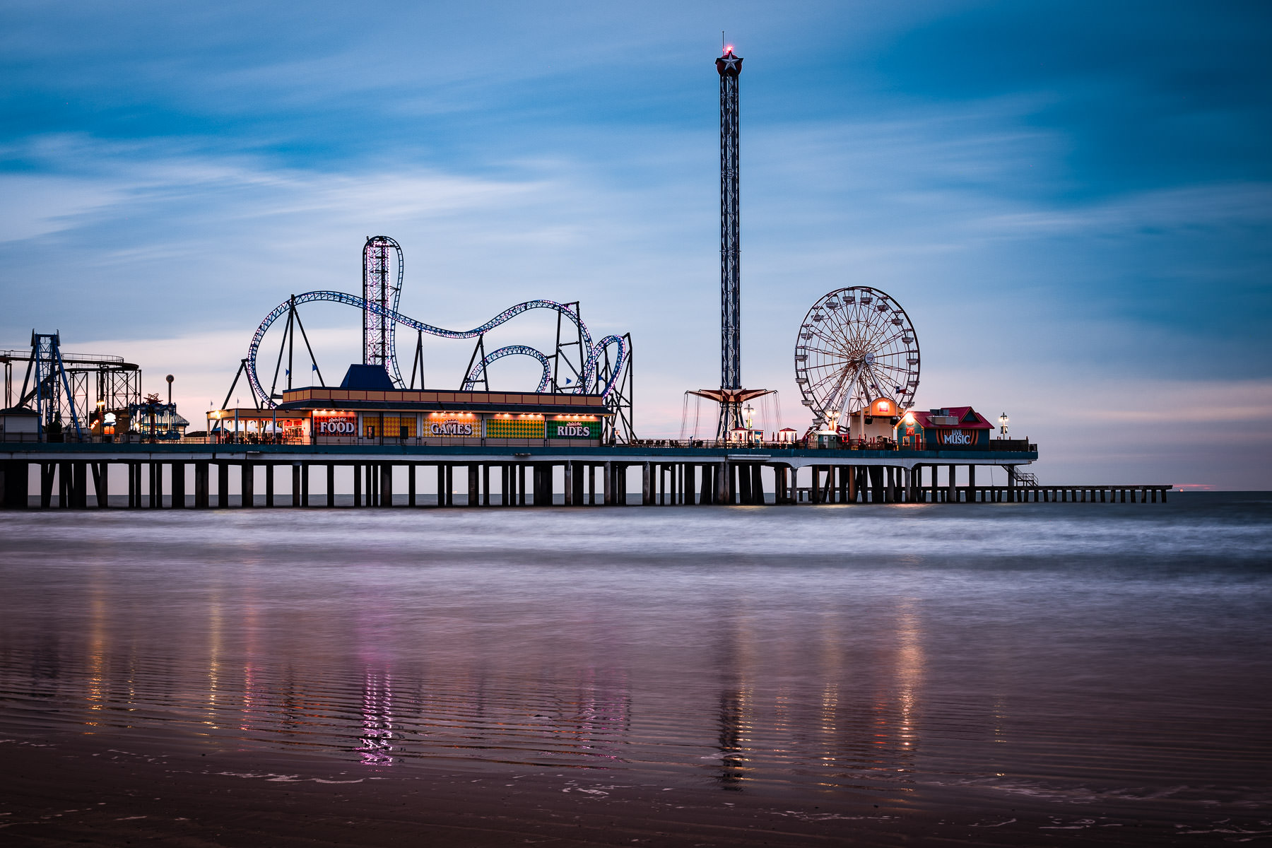 Daybreak at the Galveston Island Historic Pleasure Pier.