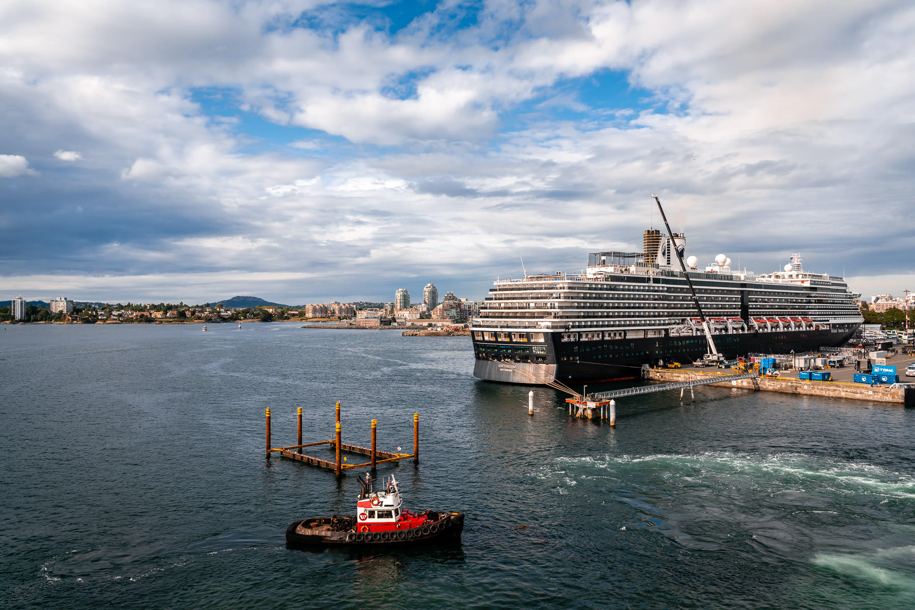 The Holland America cruise ship Oosterdam, docked in Victoria, British Columbia.