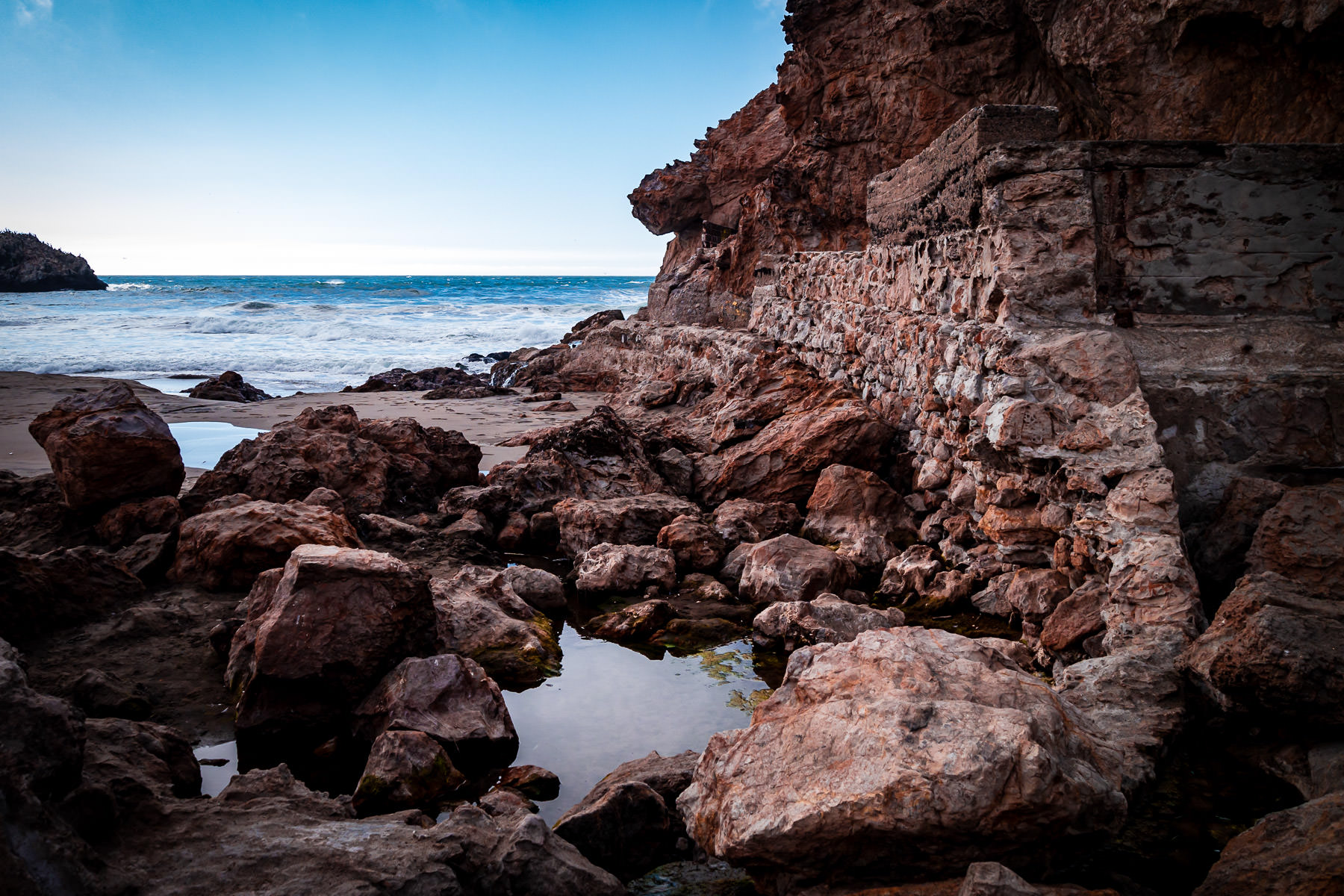 Rocks greet the Pacific Ocean near San Francisco's Sutro Baths ruins at Lands End.