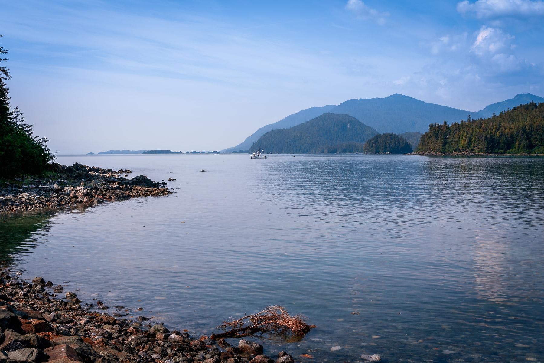 The rocky beach of an inlet on Favorite Channel near Juneau, Alaska.