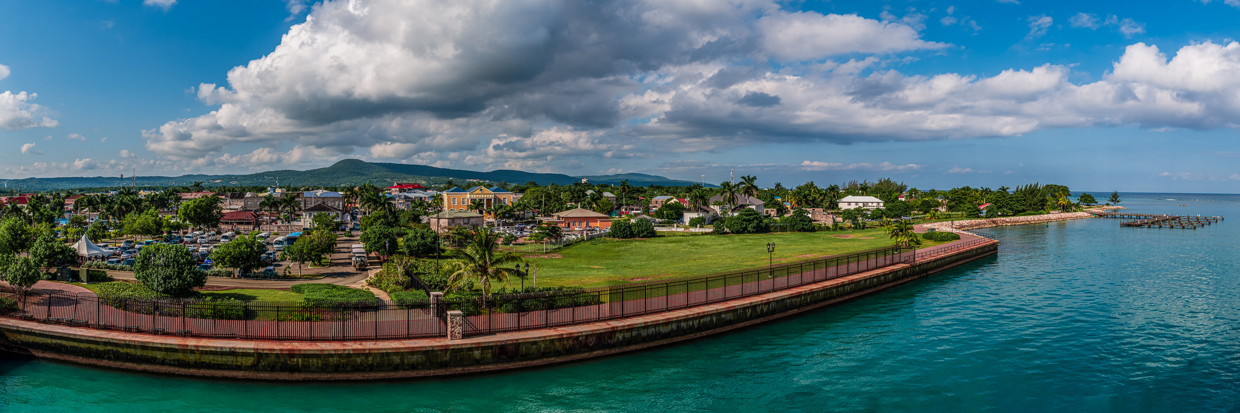 A panoramic cityscape view of Falmouth, Jamaica.