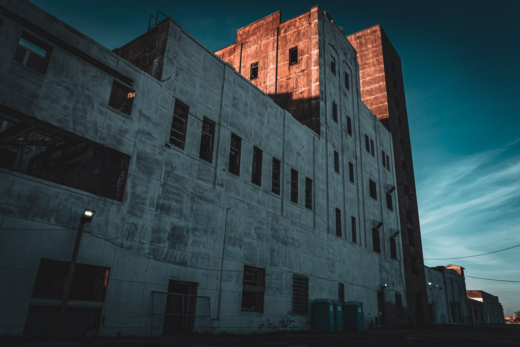 An abandoned Falstaff Beer brewery slowly decays in Galveston, Texas.