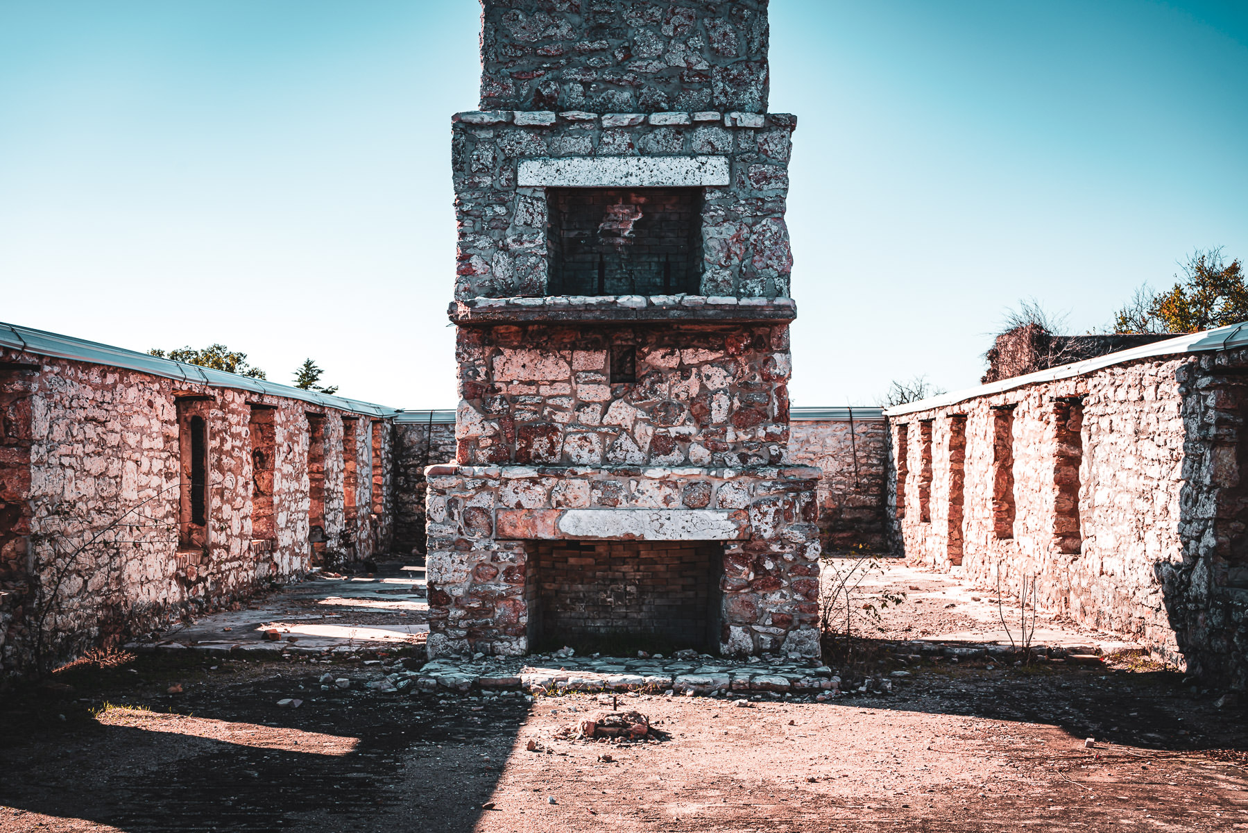 Ruins of a multi-level fireplace at Oklahoma's Fort Washita.