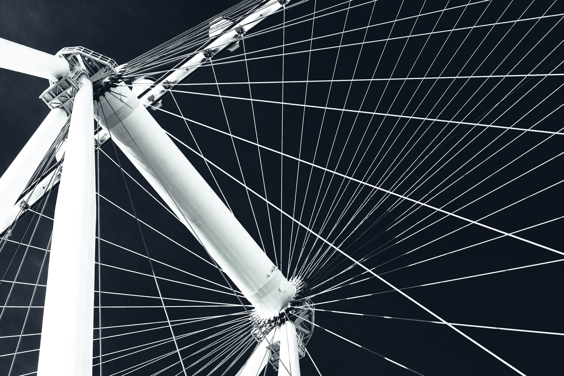The complex structure of the High Roller observation wheel, Las Vegas.