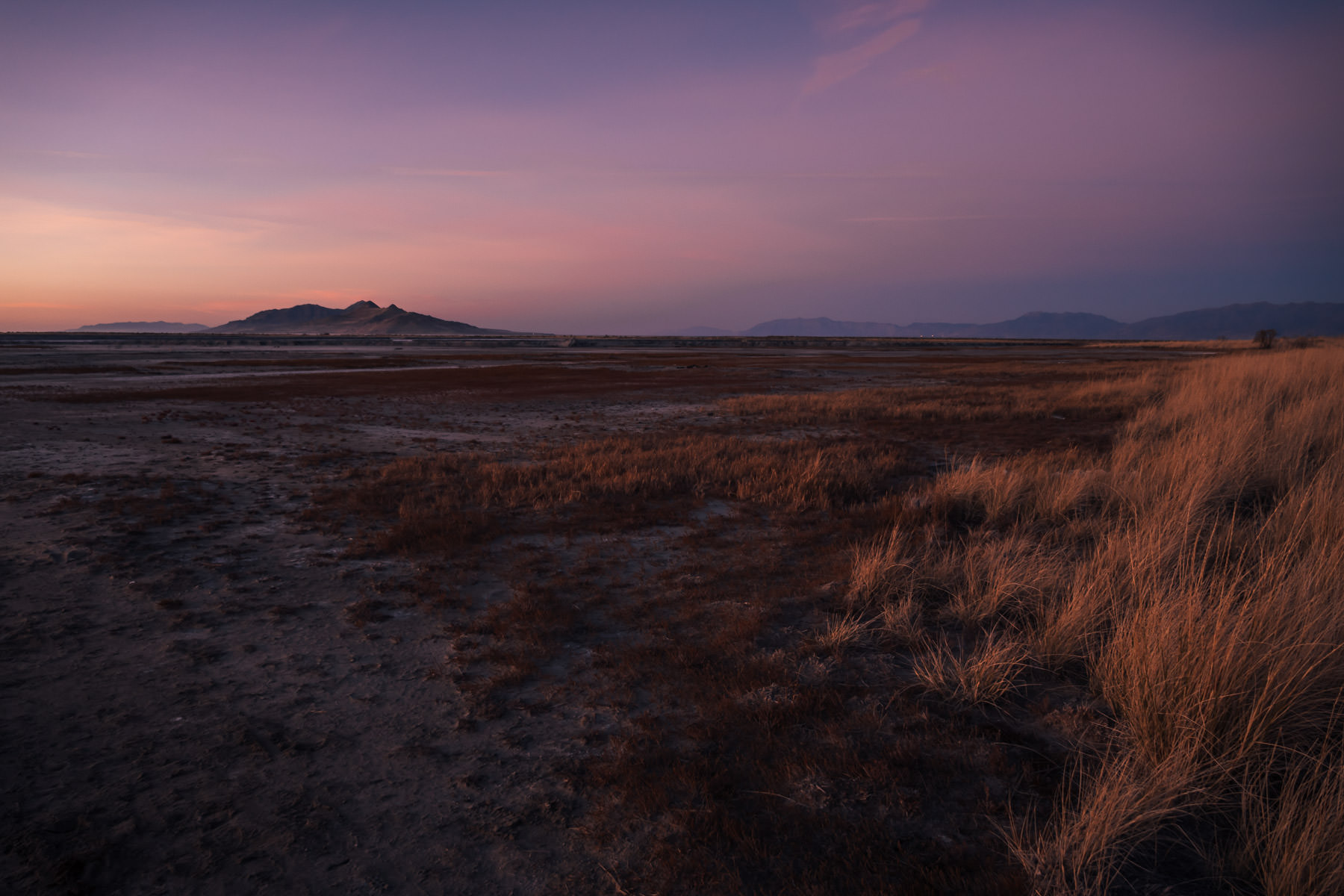 The last light of the day over the shore of Utah's Great Salt Lake.