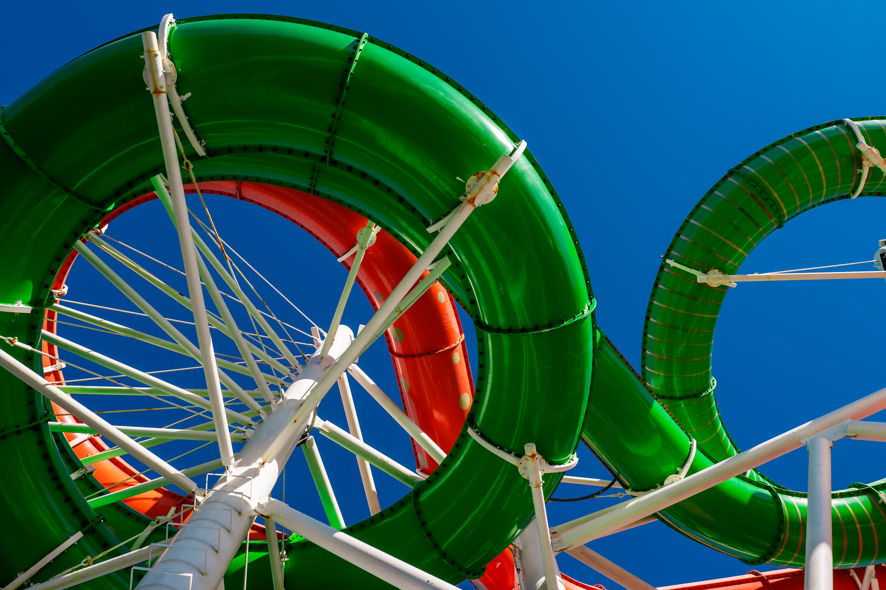 Waterslides aboard the Royal Caribbean cruise ship Liberty of the Seas.