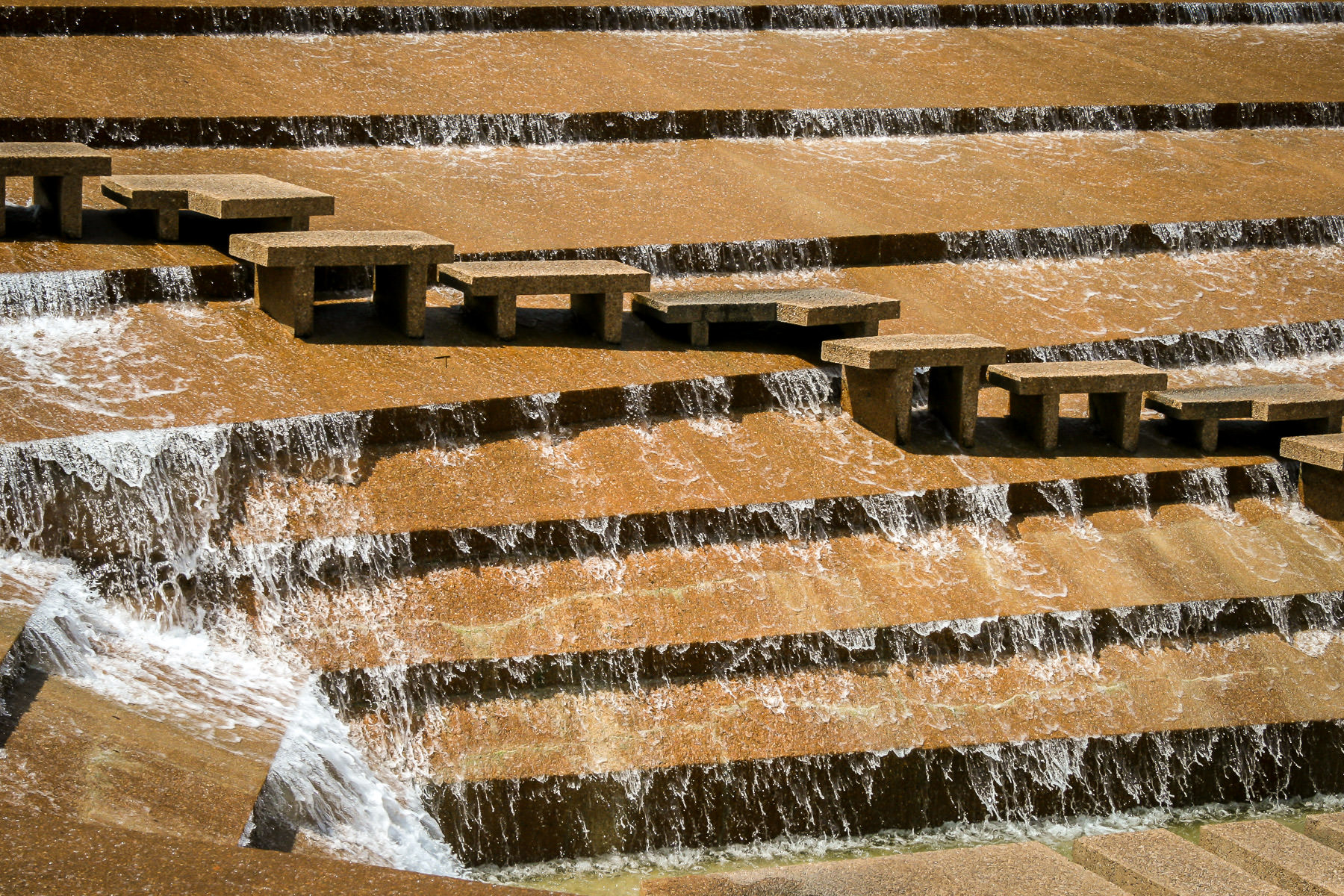 Steps at the Philip Johnson-designed Fort Worth Water Gardens.