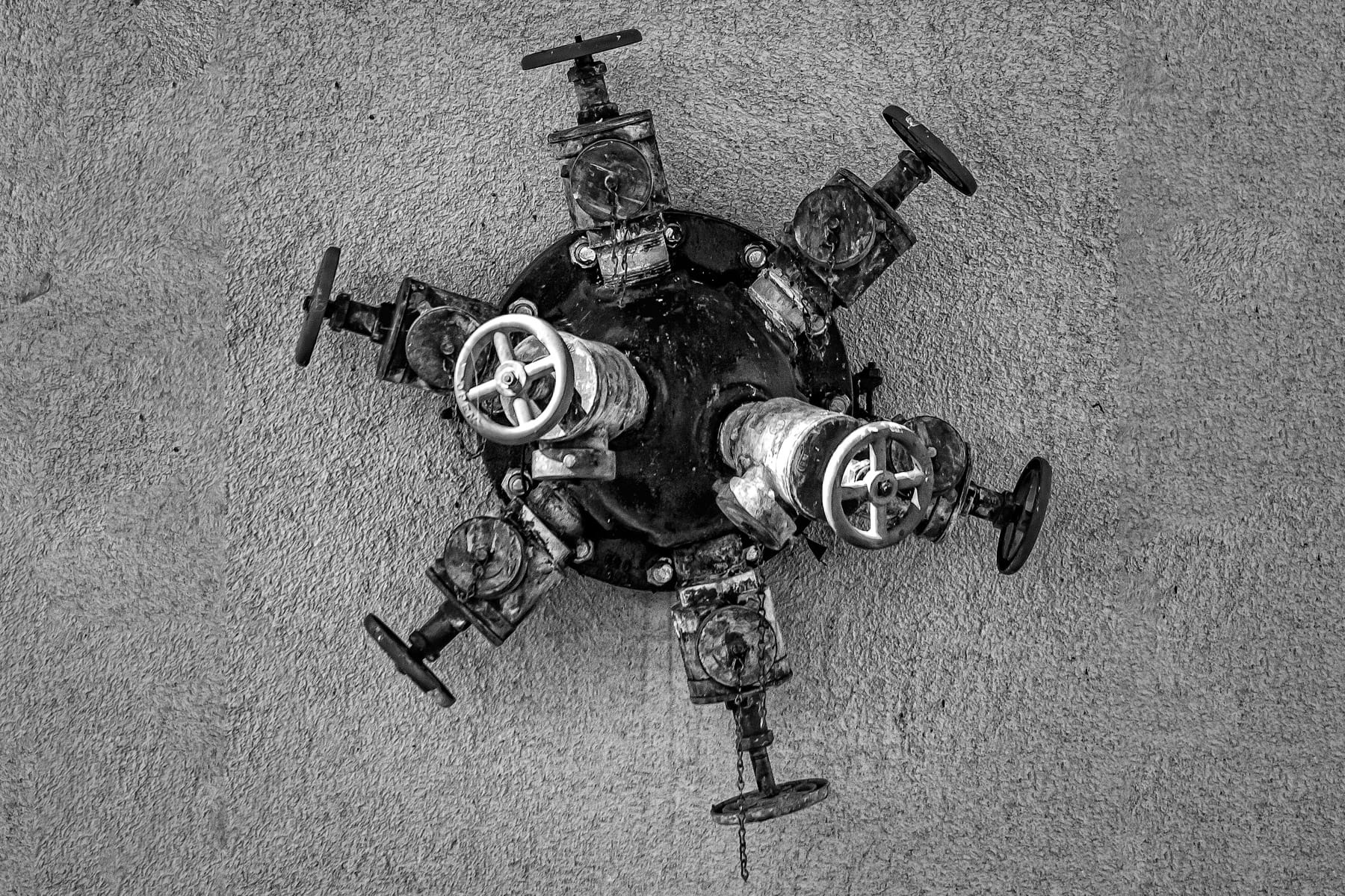 An unusual multi-headed hydrant at Bell Helicopter in Fort Worth.