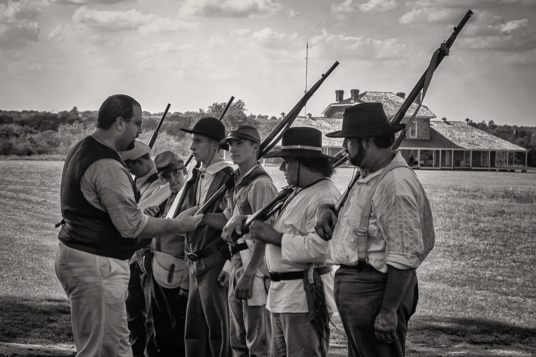 A group of frontier soldier re-enactors convenes at Fort Richardson in Jacksboro, Texas.