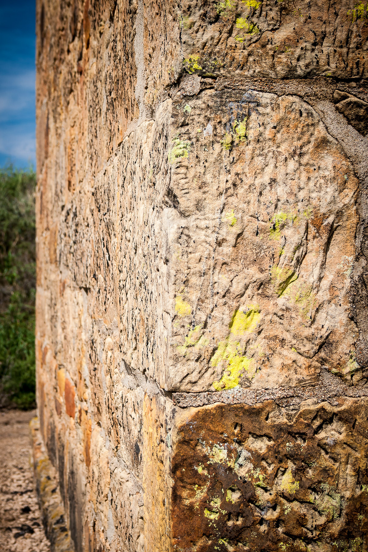 A mossy wall corner at Fort Richardson State Park in Jacksboro, Texas.