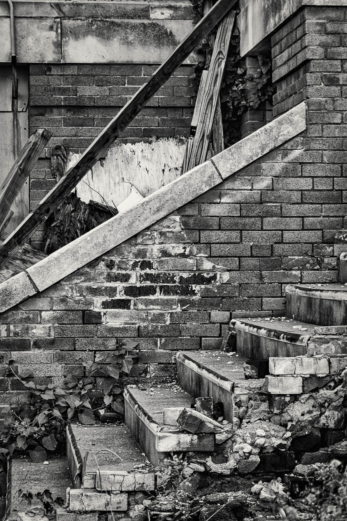 Crumbling stairs in Denison, Texas.