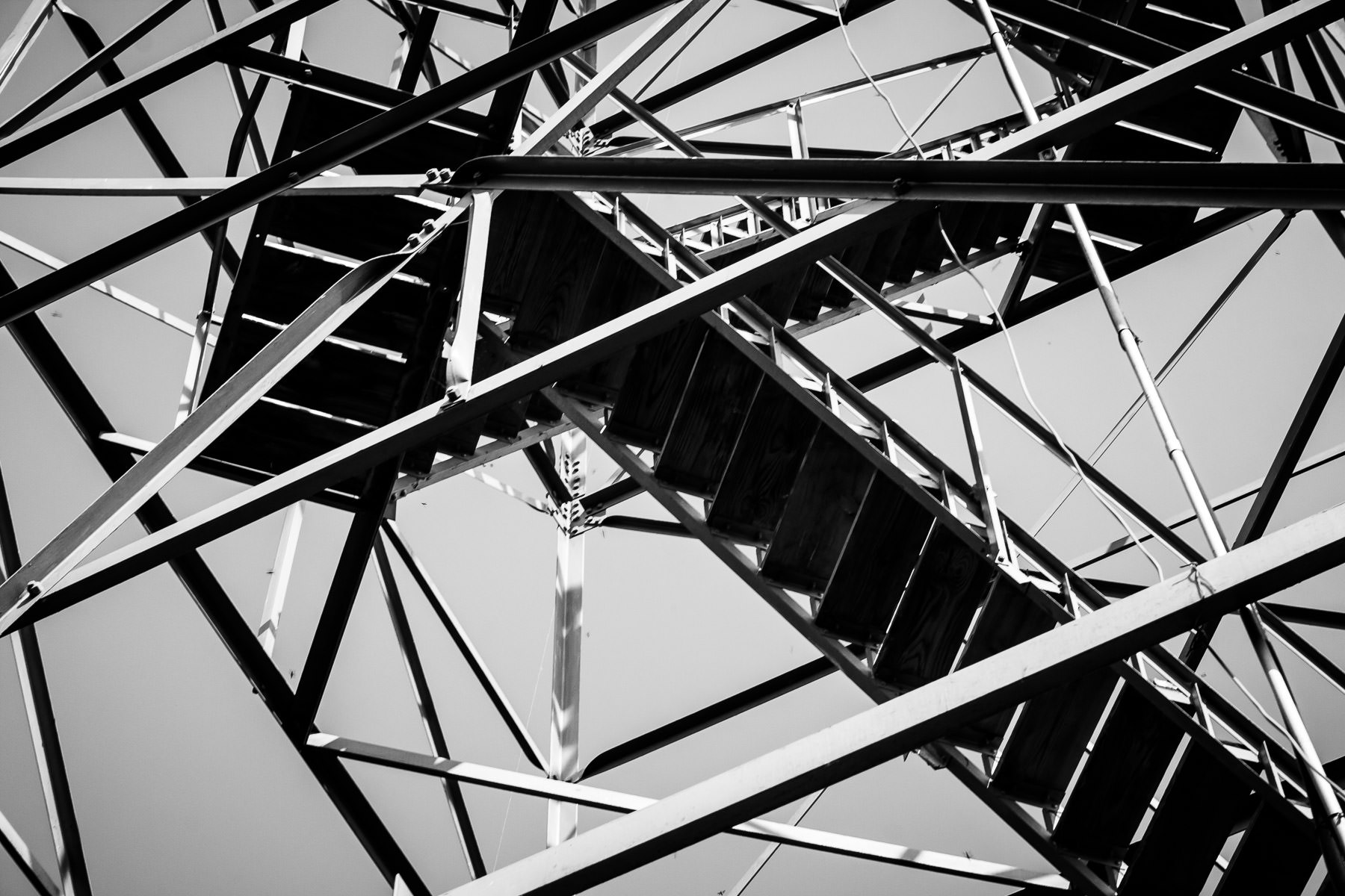 Stairs on a fire watch tower at Love's Lookout in Jacksonville, Texas.