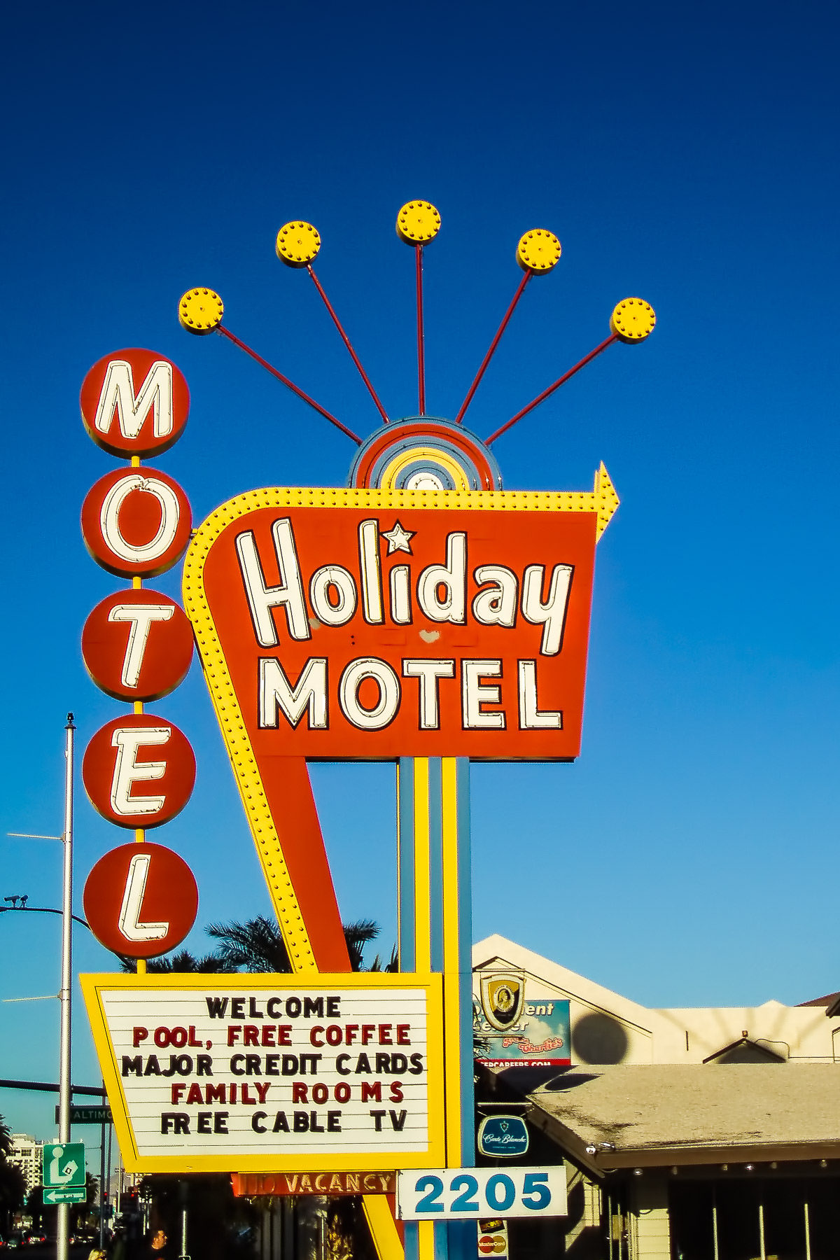 The Holiday Motel's sign in Las Vegas.