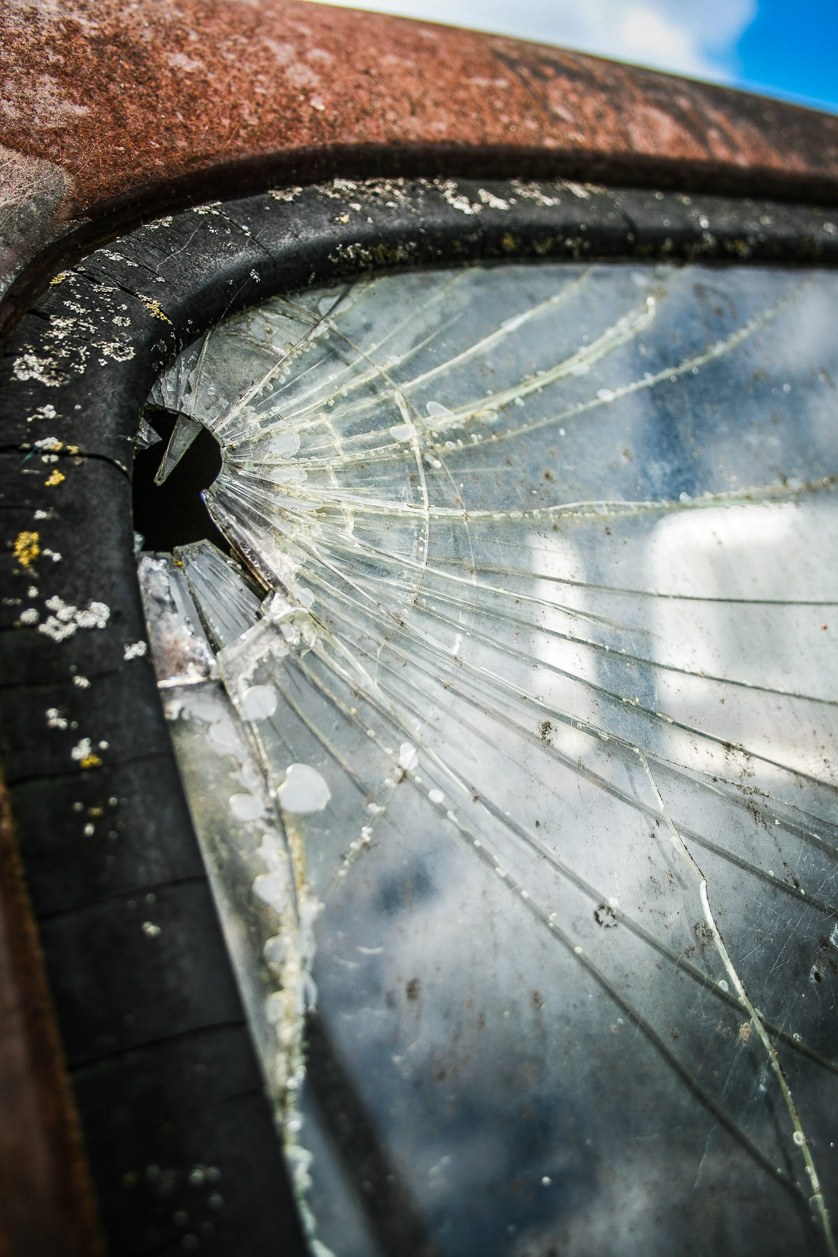 Cracked windshield on an abandoned truck in Marietta, Oklahoma.