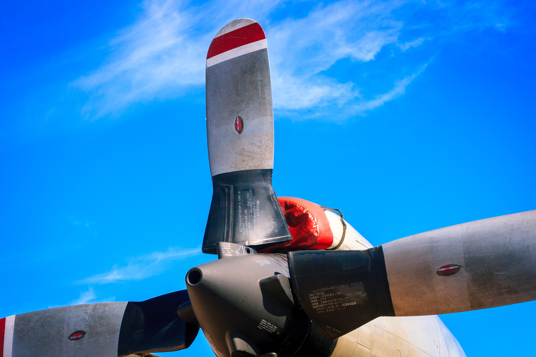 Detail of a turboprop engine on a U.S. Navy aircraft at the Fort Worth-Alliance Air Show.
