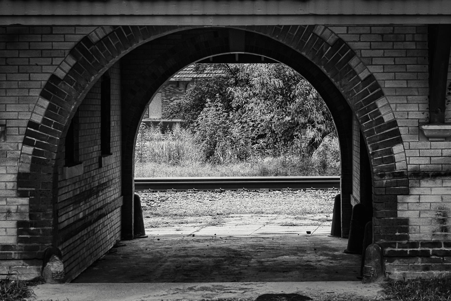 Detail of an old train depot in Waxahachie, Texas.