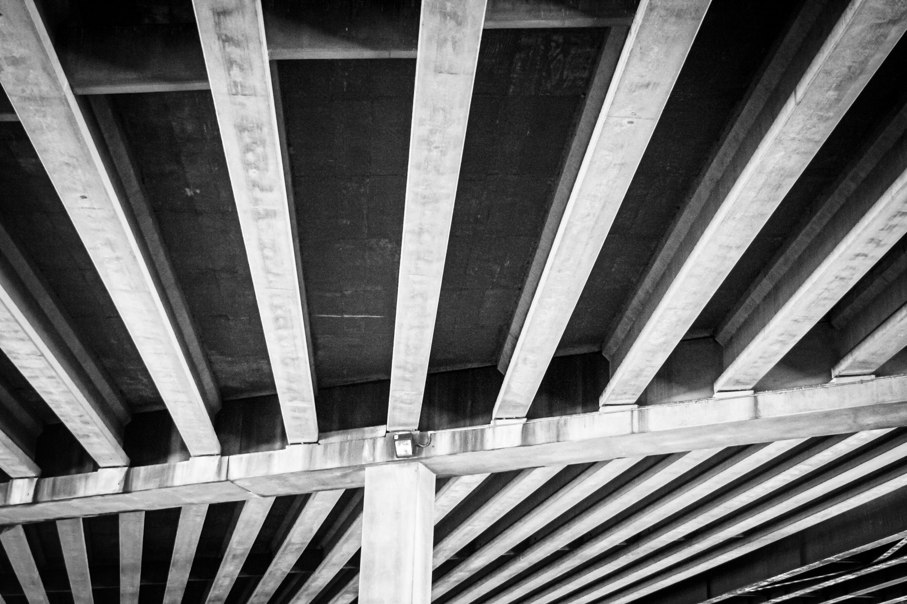 The underside of Dallas' Woodall Rogers Freeway between Downtown and Uptown.