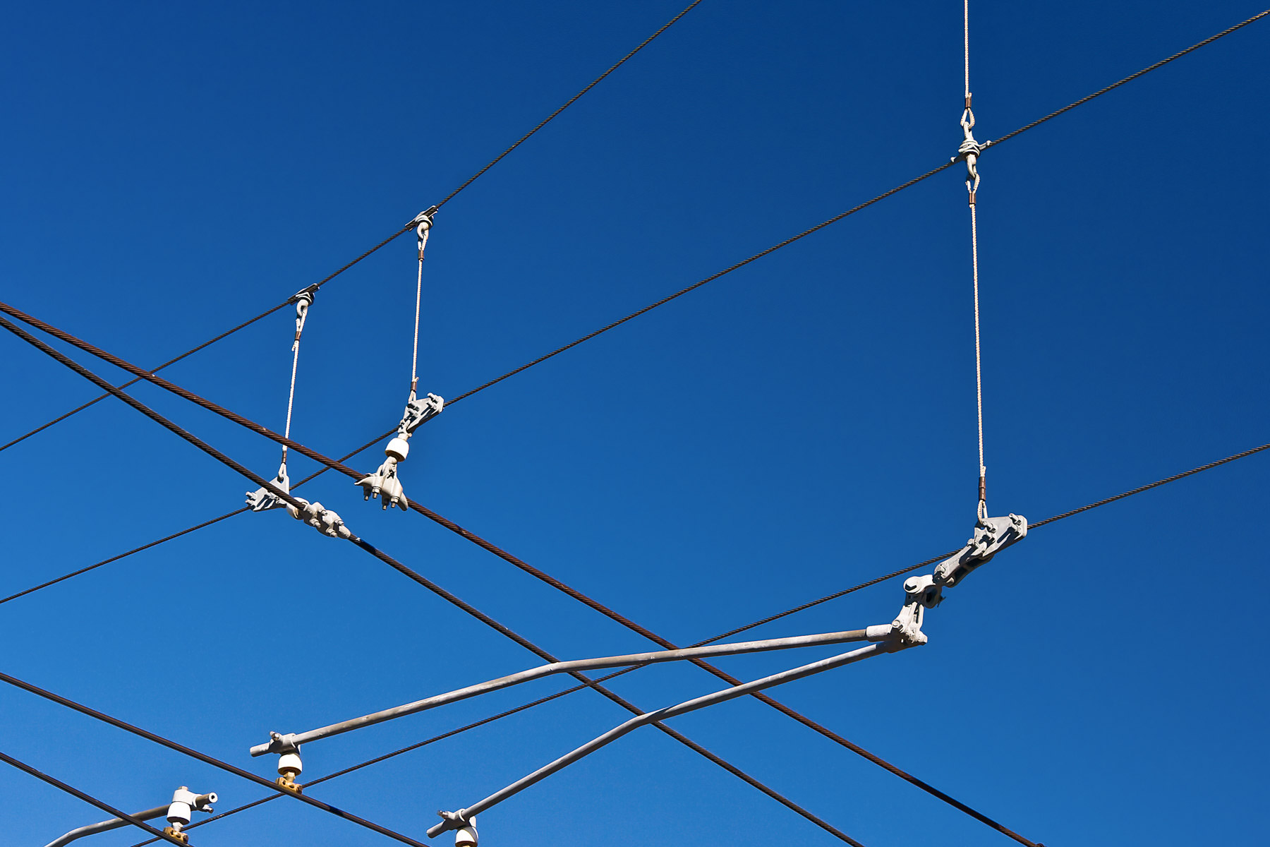 Overhead power wires for the Dallas Area Rapid Transit Light Rail lines.