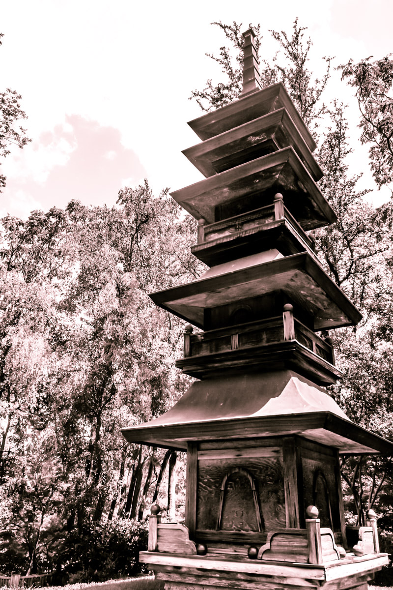 A pagoda at the Japanese Gardens in Fort Worth, Texas.