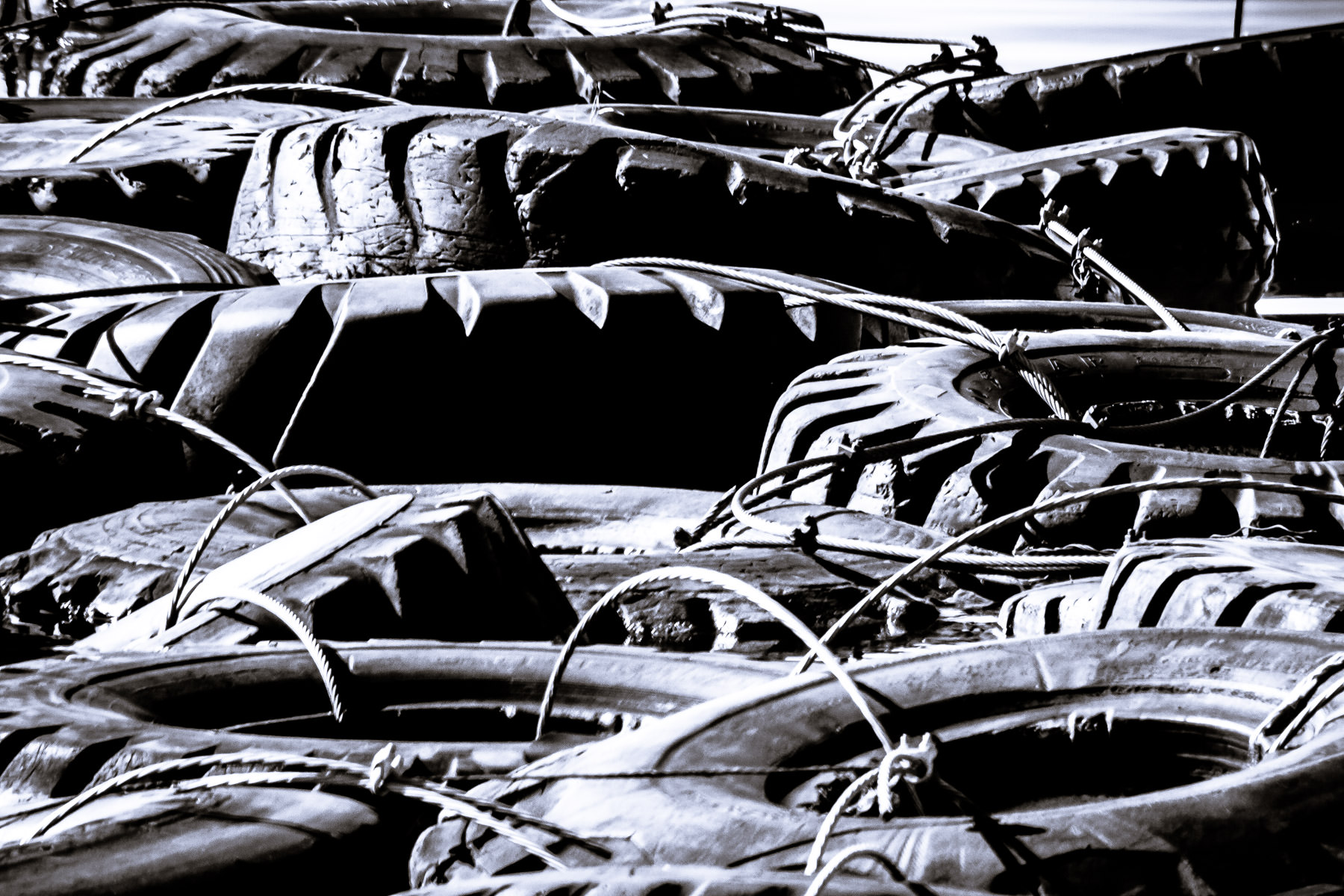 Discarded industrial tires cabled together and used as jetties at a marina on Joe Pool Lake, just outside of Dallas.