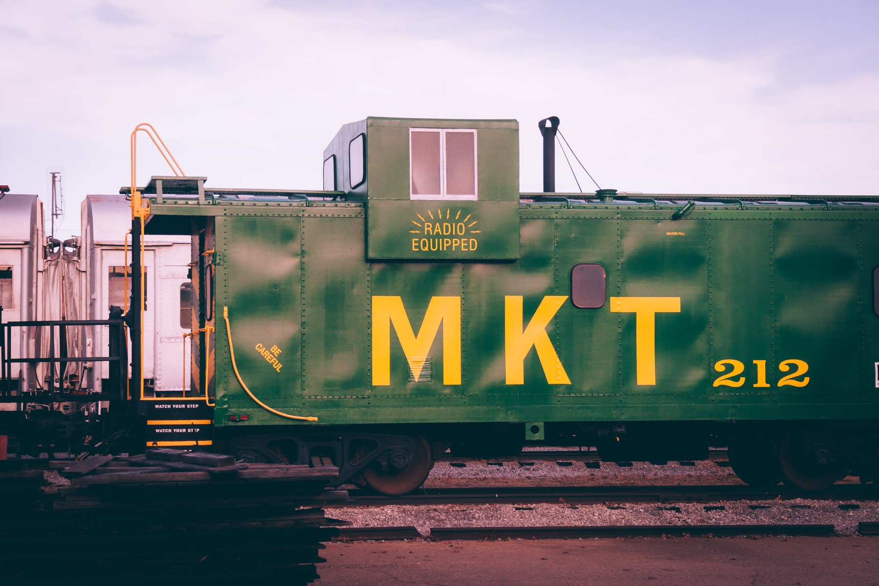 A Missouri-Kansas-Texas (Katy) Railroad caboose at the Wichita Falls, Texas, Railroad Museum.