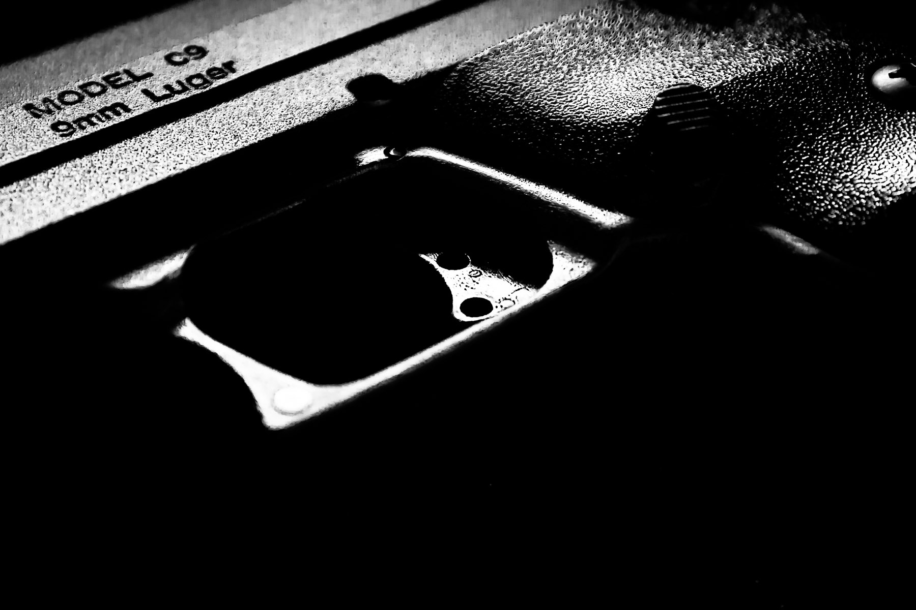Detail of a 9mm handgun.