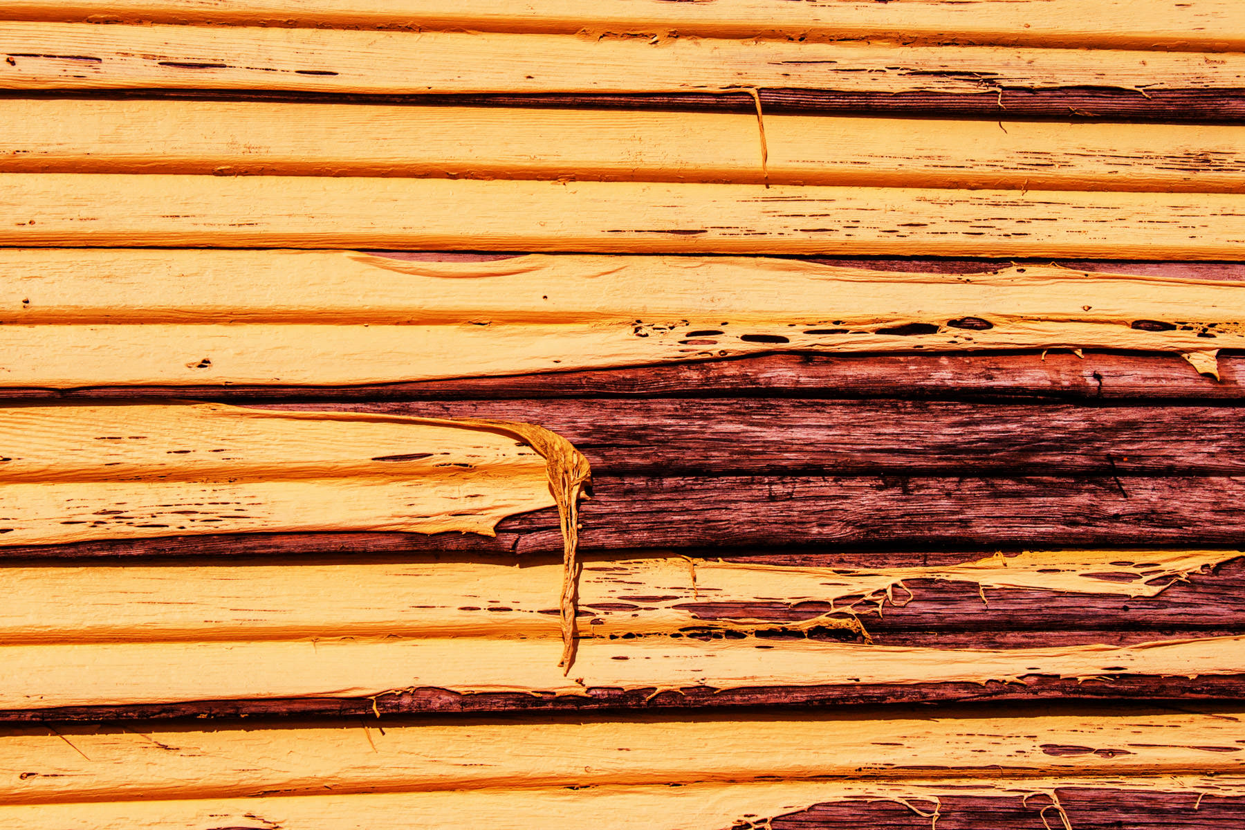 Paint peeling off an old house at Allen Heritage Village in Allen, Texas.