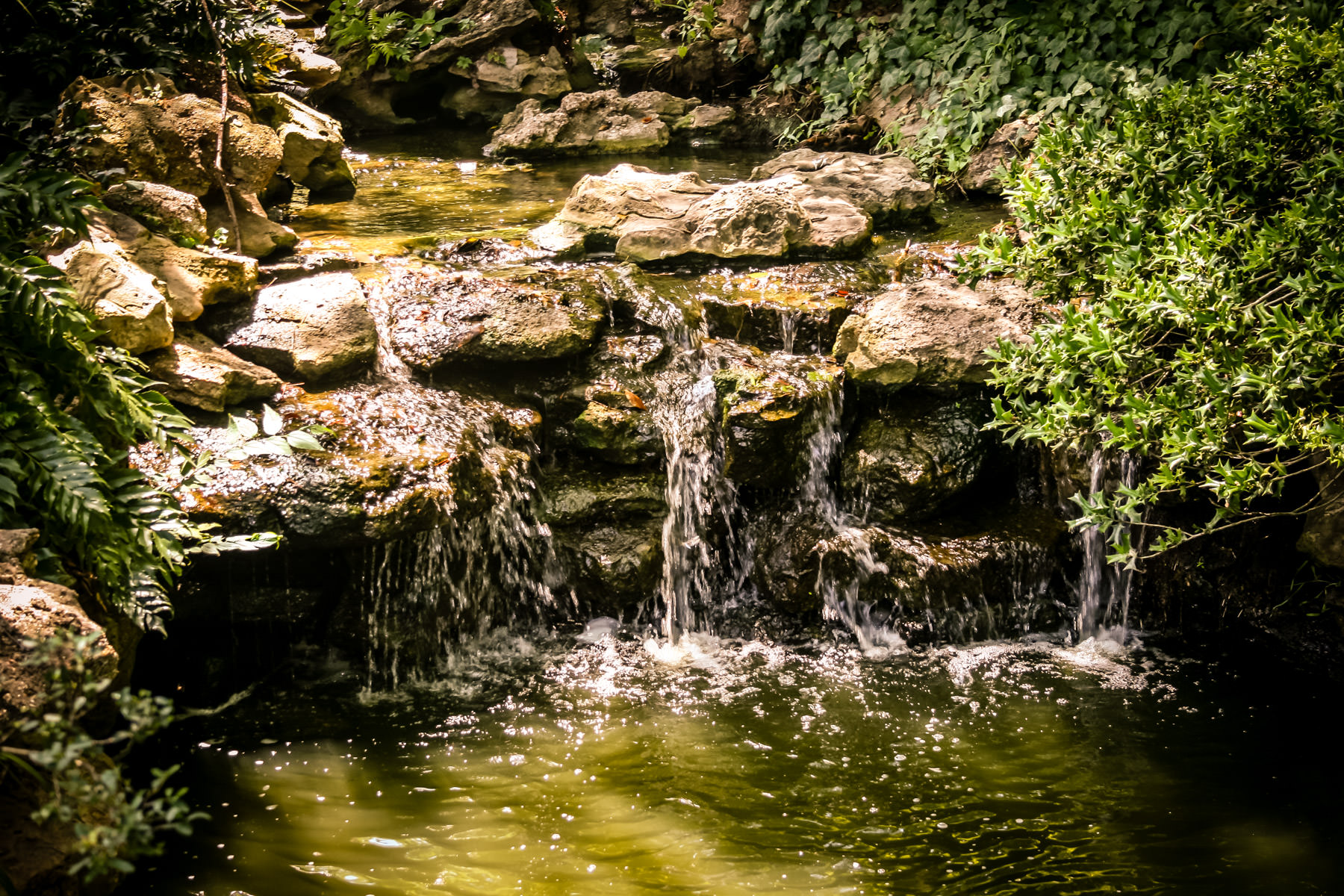 A waterfall at the Fort Worth Botanic Gardens.