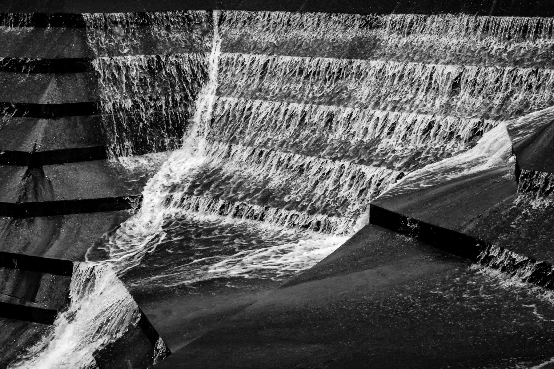 Water rushes through a portion of the Fort Worth Water Gardens, Fort Worth, Texas.
