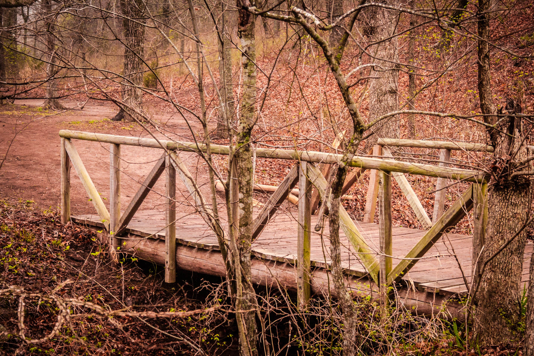 An old wooden footbridge at Turner Falls Park, Oklahoma.